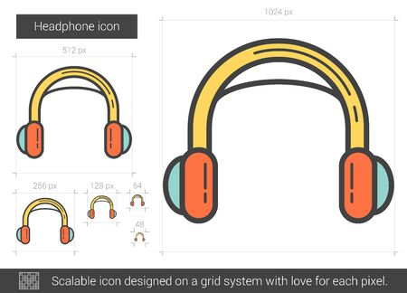 earphone: Headphone vector line icon isolated on white background. Headphone line icon for infographic, website or app. Scalable icon designed on a grid system. Illustration