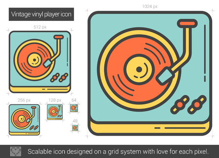 Vintage vinyl player vector line icon isolated on white background. Vintage vinyl player line icon for infographic, website or app. Scalable icon designed on a grid system. Vectores