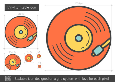 scalable: Vinyl turntable vector line icon isolated on white background. Vinyl turntable line icon for infographic, website or app. Scalable icon designed on a grid system.