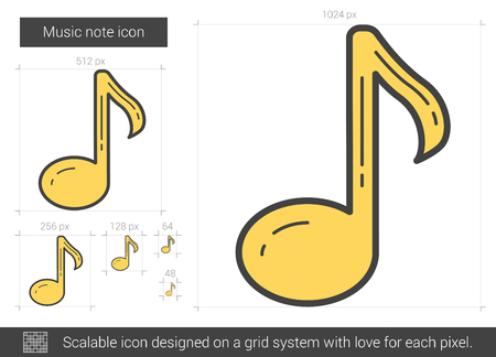 scalable: Music note vector line icon isolated on white background. Music note line icon for infographic, website or app. Scalable icon designed on a grid system.