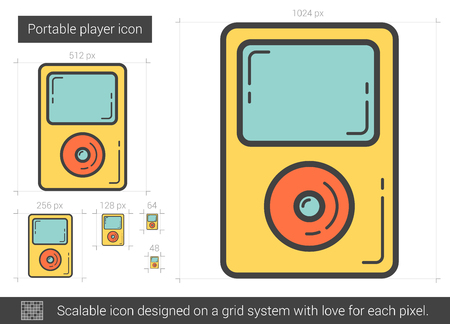 scalable: Portable player vector line icon isolated on white background. Portable player line icon for infographic, website or app. Scalable icon designed on a grid system.