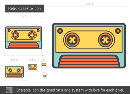 Retro cassette vector line icon isolated on white background. Retro cassette line icon for infographic, website or app. Scalable icon designed on a grid system.