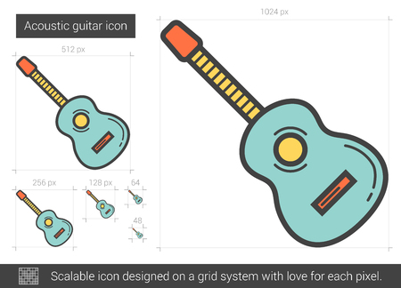 Acoustic guitar vector line icon isolated on white background. Acoustic guitar line icon for infographic, website or app. Scalable icon designed on a grid system. Illustration