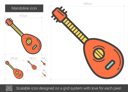 scalable: Mandoline vector line icon isolated on white background. Mandoline line icon for infographic, website or app. Scalable icon designed on a grid system.