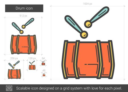 ベクトル線のアイコンが白い背景で隔離のドラムです。グリッド システムで設計されたインフォ グラフィック、web サイトまたはアプリケーション