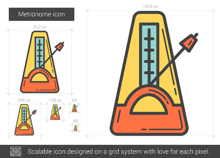 scale icon: Metronome vector line icon isolated on white background. Metronome line icon for infographic, website or app. Scalable icon designed on a grid system. Illustration