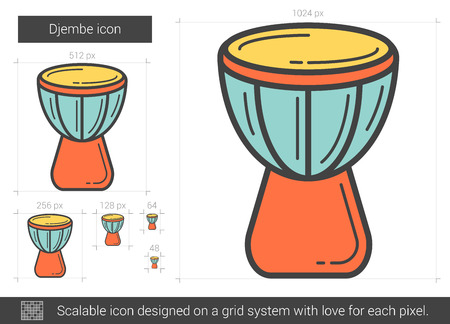 rhythm rhythmic: Djembe vector line icon isolated on white background. Djembe line icon for infographic, website or app. Scalable icon designed on a grid system. Illustration