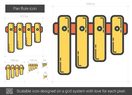 scalable: Pan flute vector line icon isolated on white background. Pan flute line icon for infographic, website or app. Scalable icon designed on a grid system. Illustration