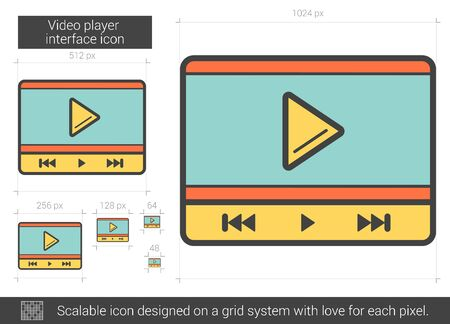 scalable: Video player interface vector line icon isolated on white background. Video player interface line icon for infographic, website or app. Scalable icon designed on a grid system.