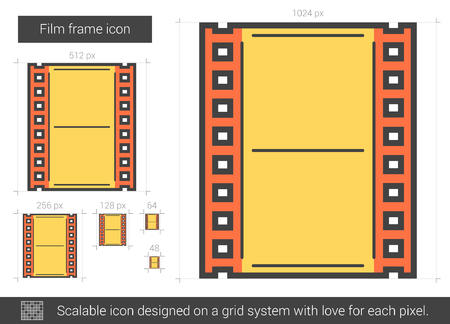 scalable: Film frame vector line icon isolated on white background. Film frame line icon for infographic, website or app. Scalable icon designed on a grid system.