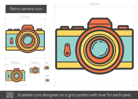 media gadget: Retro camera vector line icon isolated on white background. Retro camera line icon for infographic, website or app. Scalable icon designed on a grid system.