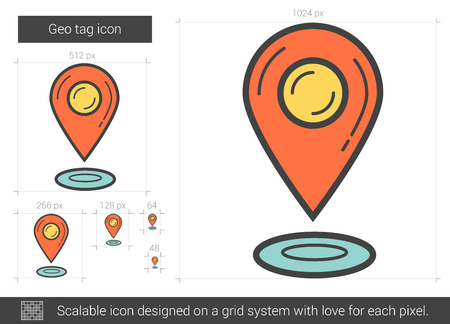 geo: Geo tag vector line icon isolated on white background. Geo tag line icon for infographic, website or app. Scalable icon designed on a grid system. Illustration