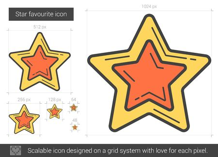 appraisal: Star favourite vector line icon isolated on white background. Star favourite line icon for infographic, website or app. Scalable icon designed on a grid system. Illustration