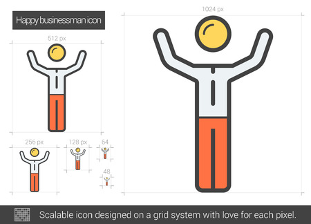 Happy businessman vector line icon isolated on white background. Happy businessman line icon for infographic, website or app. Scalable icon designed on a grid system. Ilustrace