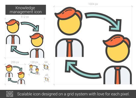managment: Knowledge managment vector line icon isolated on white background. Knowledge managment line icon for infographic, website or app. Scalable icon designed on a grid system.