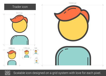 traders: Trader vector line icon isolated on white background. Trader line icon for infographic, website or app. Scalable icon designed on a grid system. Illustration