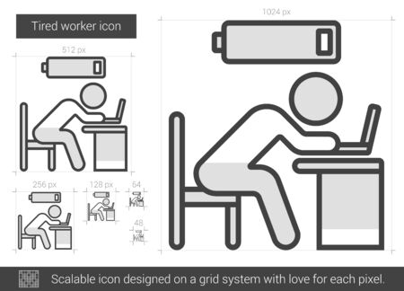 power failure: Tired worker vector line icon isolated on white background. Tired worker line icon for infographic, website or app. Scalable icon designed on a grid system. Stock Photo