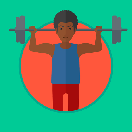 crossbar: African-american man lifting a heavy weight barbell. Strong sportsman doing exercise with barbell. Weightlifter holding a barbell. Vector flat design illustration in the circle isolated on background.