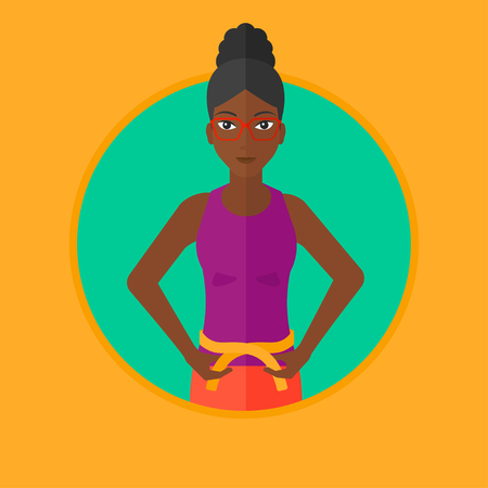 An african woman measuring her waistline with a tape. Woman measuring with tape the abdomen. Woman with centimeter on a waist. Vector flat design illustration in the circle isolated on background.