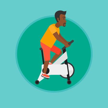 An african-americanman riding stationary bicycle. Man exercising on stationary training bicycle. Man training on exercise bike. Vector flat design illustration in the circle isolated on background.
