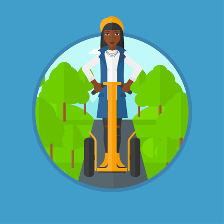 woman driving: An african-american woman driving electric scooter in the park. Woman riding on modern self-balancing electric scooter outdoor. Vector flat design illustration in the circle isolated on background. Illustration