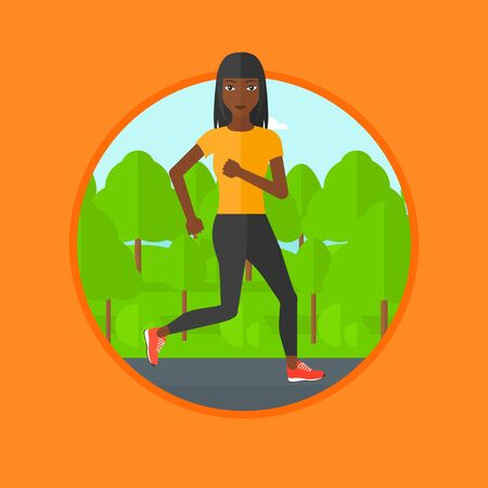 jogging in park: An african-american woman running. Female runner jogging outdoors. Sports woman running in the park. Running woman on forest road. Vector flat design illustration in the circle isolated on background.