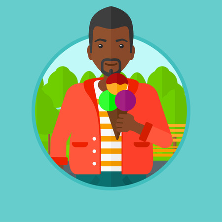 cornet: An african-american young man eating a big ice cream. Man holding an ice cream in hand. Man enjoying an ice cream at park. Vector flat design illustration in the circle isolated on background. Illustration