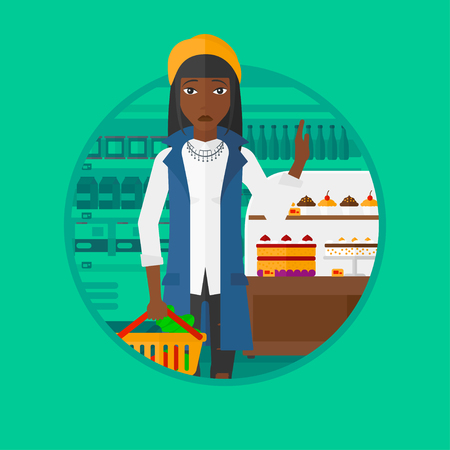 to refuse: An african-american woman holding basket with healthy food. Woman choosing healthy food and rejecting junk food in supermarket. Vector flat design illustration in the circle isolated on background. Illustration