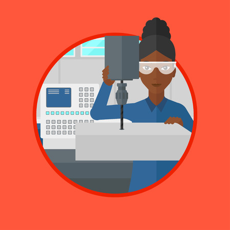 milling: An african woman working on milling machine. Woman using milling machine at factory. Woman making a hole using a milling machine. Vector flat design illustration in the circle isolated on background.