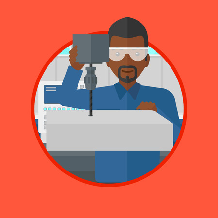 the miller: African-american man working on a milling machine. Man using milling machine at factory. Man making a hole using a milling machine. Vector flat design illustration in the circle isolated on background
