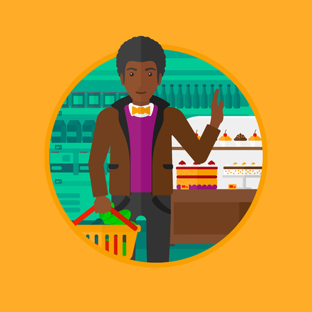 An african-american man holding basket full of healthy food. Man rejecting junk food in supermarket. Man choosing healthy food. Vector flat design illustration in the circle isolated on background.
