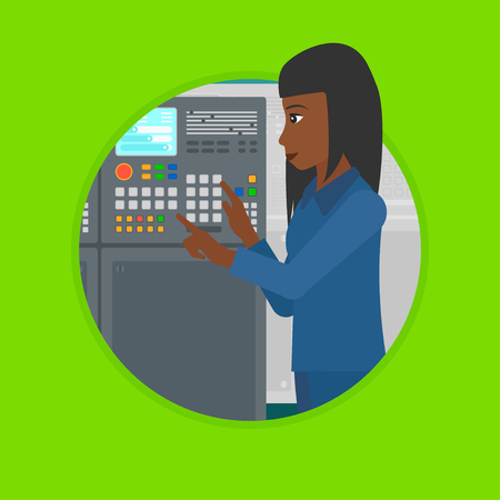 control panel: An african woman working on control panel. Woman pressing button on control panel. Engineer standing in front of control panel. Vector flat design illustration in the circle isolated on background.
