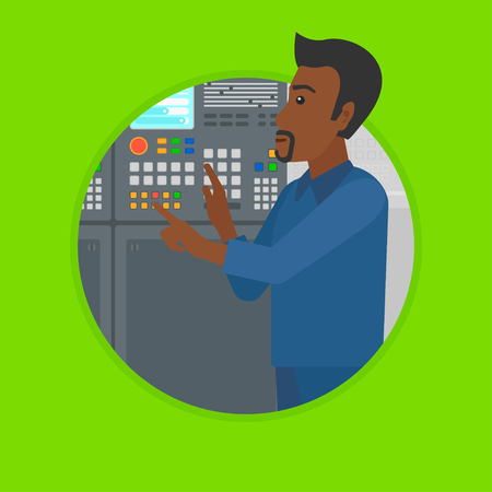 button front: African-american man working on control panel. Man pressing button on control panel. Engineer standing in front of control panel. Vector flat design illustration in the circle isolated on background.
