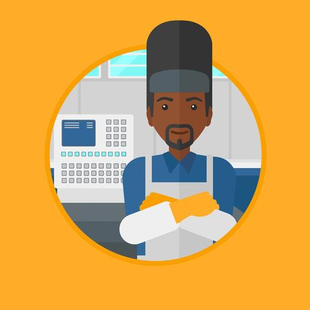 industrial worker: An african-american welder at factory workshop. Industrial worker with protective welder mask. Welder with arms crossed. Vector flat design illustration in the circle isolated on background.