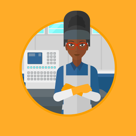 control panel: An african welder standing at factory workshop. Industrial worker with arms crossed standing on the background of control panel. Vector flat design illustration in the circle isolated on background.