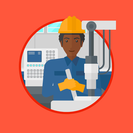 An african-american man working on drilling machine. Man using drilling machine at manufactory. Metalworker drilling at workplace. Vector flat design illustration in the circle isolated on background.