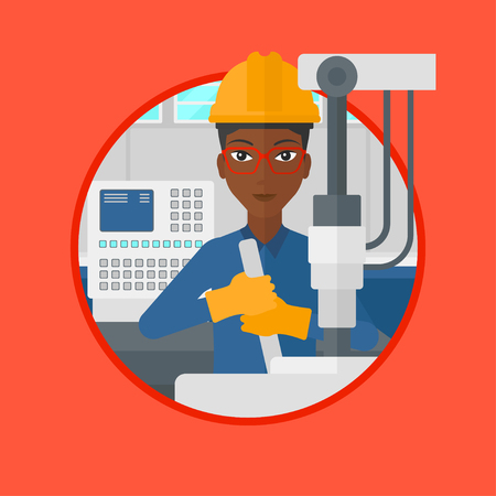 African-american woman working on drilling machine. Woman using drilling machine at manufactory. Metalworker drilling at workplace. Vector flat design illustration in the circle isolated on background