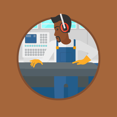 An african-american man working on metal press machine. Worker in headphones operating metal press machine at factory workshop. Vector flat design illustration in the circle isolated on background. Ilustração