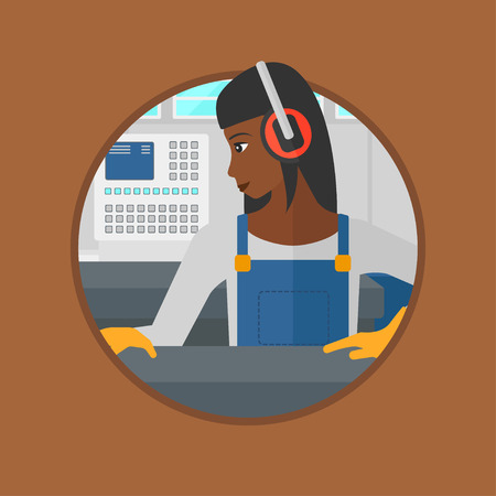 An african-american woman working on metal press machine. Worker in headphones operating metal press machine at factory workshop. Vector flat design illustration in the circle isolated on background. Ilustração