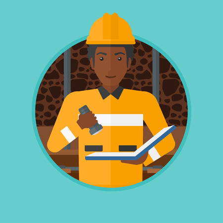 coal mine: An african-american miner checking documents with the flashlight. Mine worker in hard hat. Miner in the coal mine. Vector flat design illustration in the circle isolated on background. Illustration