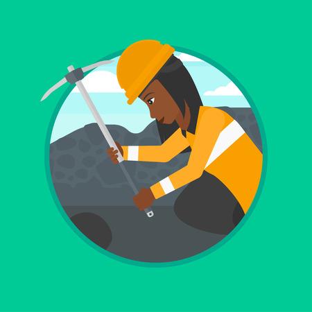 Een Afrikaans-Amerikaanse mijnwerker het werken met een pikhouweel. Mijnwerker in bouwvakker. Mijnwerker bij de kolenmijn. Vector platte ontwerp illustratie in de cirkel geïsoleerd op de achtergrond. Stock Illustratie