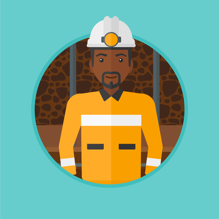 coal miner: An african-american confident coal miner. Miner in hardhat with torch. Miner standing in the coal mine. Vector flat design illustration in the circle isolated on background. Illustration