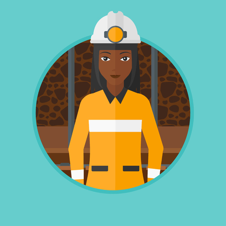 An african-american confident coal miner. Miner in hardhat with torch. Miner standing in the coal mine. Vector flat design illustration in the circle isolated on background. Çizim