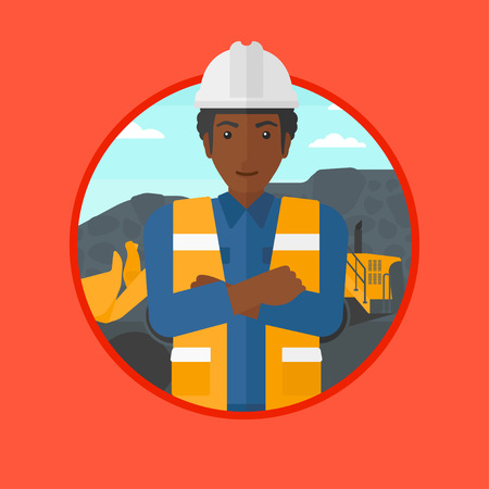 coal mine: An african-american miner standing in front of a big excavator. Miner with crossed arms. Miner wearing hard hat at coal mine. Vector flat design illustration in the circle isolated on background. Illustration
