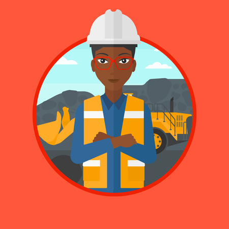 An african-american miner standing in front of a big excavator. Miner with crossed arms. Miner wearing hard hat at coal mine. Vector flat design illustration in the circle isolated on background. Illustration
