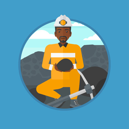 An african-american miner sitting with coal in the hands. Miner with a pickaxe at coal mine. Miner working at coal mine. Vector flat design illustration in the circle isolated on background.