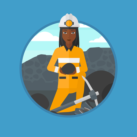 An african-american female miner sitting with coal in the hands. Miner with a pickaxe at coal mine. Miner working at coal mine. Vector flat design illustration in the circle isolated on background.