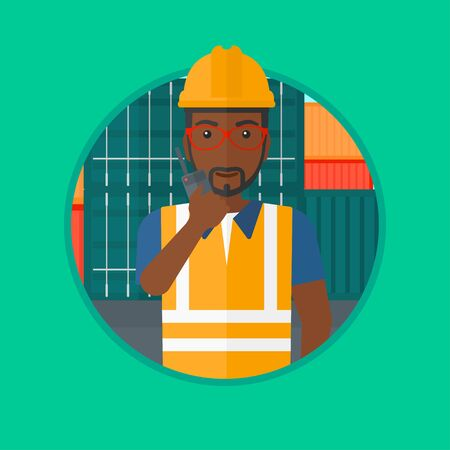 docker: An african-american port worker talking on wireless radio on the background of cargo containers. Port worker using wireless radio. Vector flat design illustration in the circle isolated on background. Illustration
