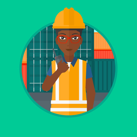 An african-american port worker talking on wireless radio on the background of cargo containers. Port worker using wireless radio. Vector flat design illustration in the circle isolated on background. Illustration
