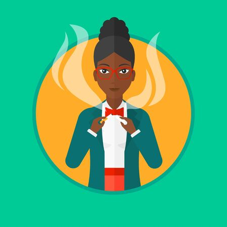 An african-american woman breaking the cigarette. Woman crushing cigarette. Woman holding broken cigarette. Quit smoking concept. Vector flat design illustration in the circle isolated on background.